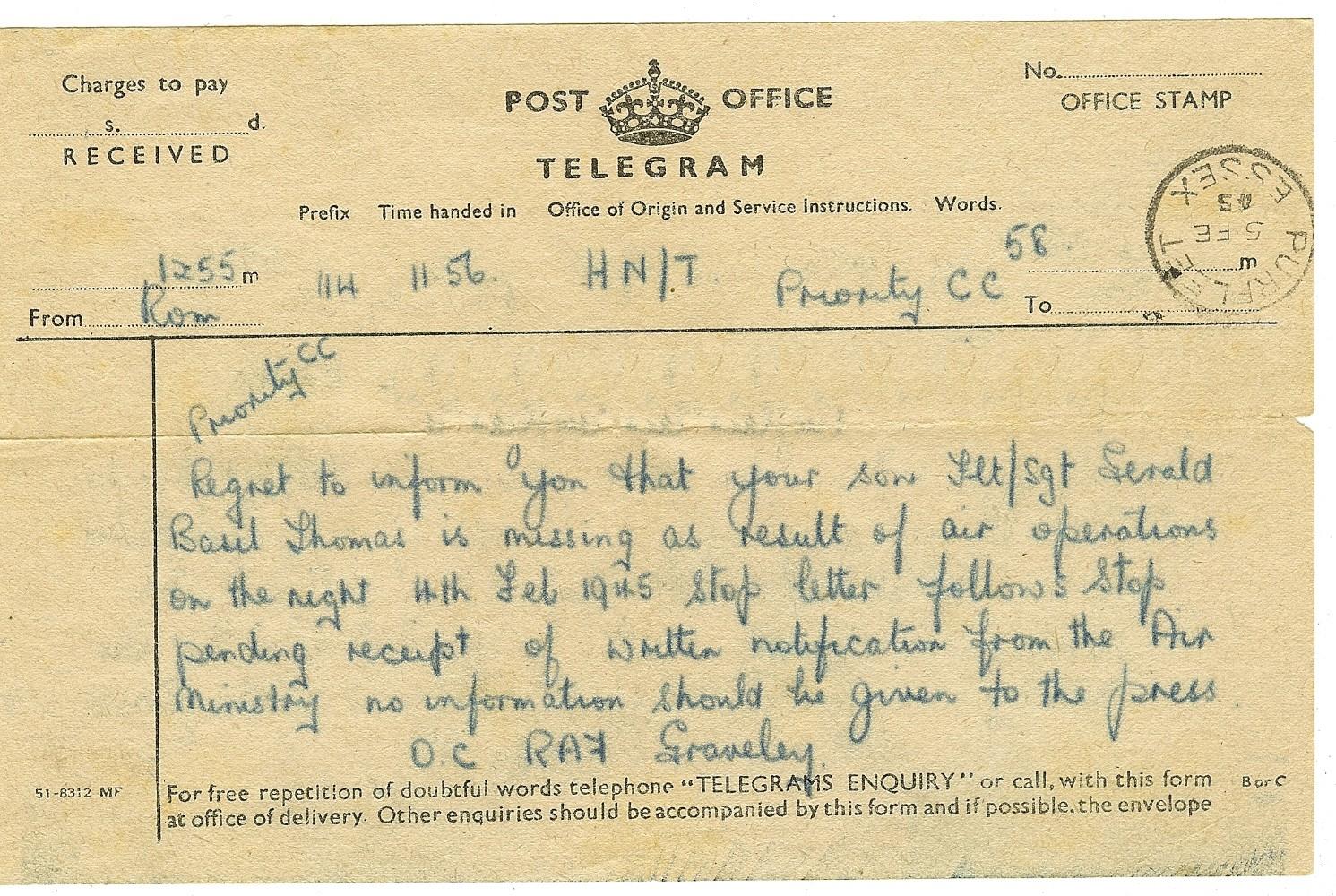 Telegram 5-5-1945