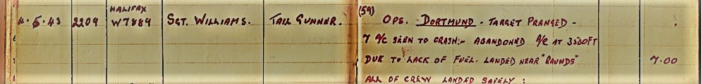 W7887 Log Book Entry [Gordon Boocock]