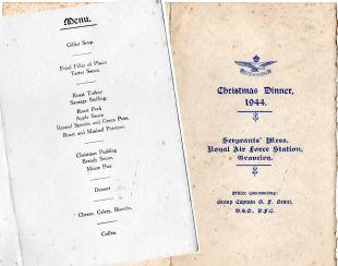 Christmas Menu RAF Graveley 1944 [Courtesy of Lisa Phillips]