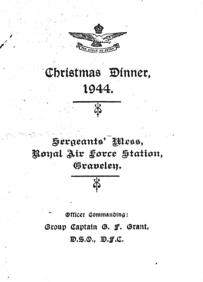 Christmas Menu 1944 [Courtesy of Stan Grosvenor)