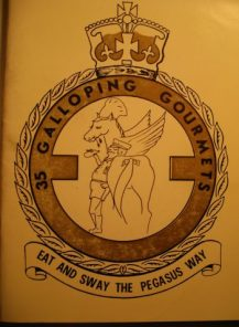"""The front cover of """"35 Galloping Gourmets - Eat and Sway the Pegasus Way"""" cookery book produced by someone on the Squadron in support of The Cheshire Home at Geferesa near Addis Ababa in Ethiopia [Courtesy of Mo Frampton]"""