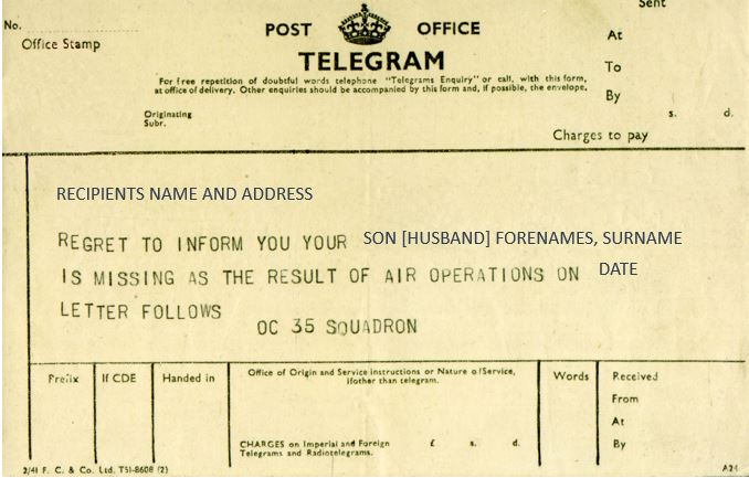 An example of the telegram that was sent